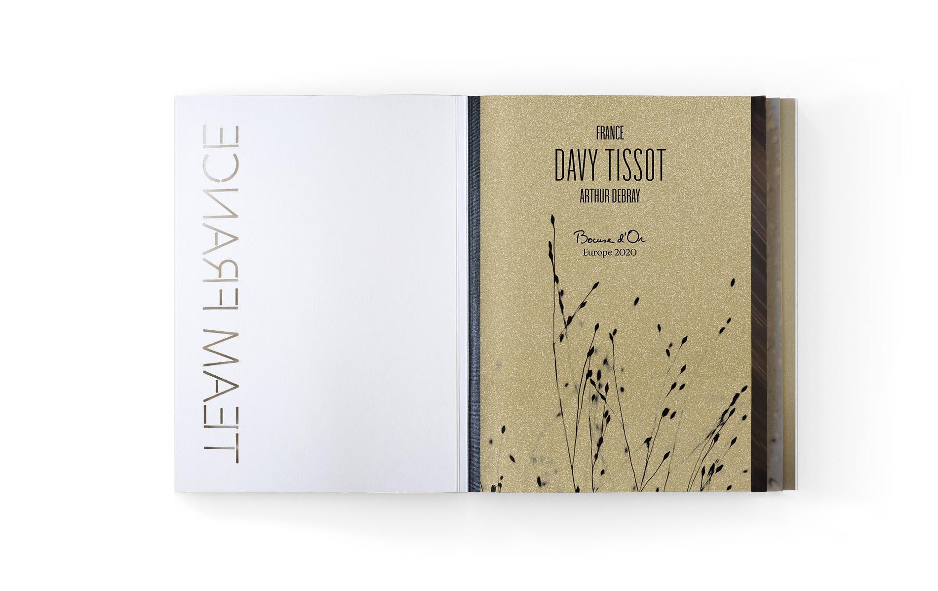 Menu développés par le Studio Exquisite pour accompagner le Chef Davy Tissot et la Team France sur le concours du Bocuse d'Or Europe